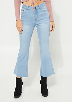 Light Wash Flared High Rise Jeans
