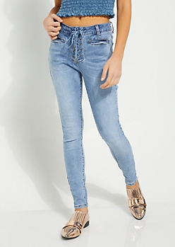Medium Blue Lace Up High Rise Jeggings