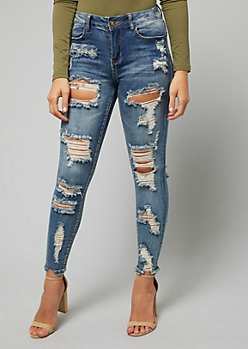 Medium Wash Mid Rise Destructed Premium Jeggings