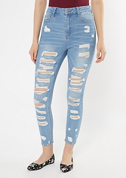 Medium Wash Throwback Ripped Curvy Jeggings