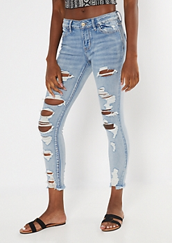 Ultimate Stretch Medium Wash Ripped Ankle Jeans