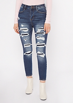 Dark Wash Rip Repair Ankle Jeans