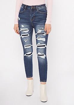 Dark Wash Rip Repair Ankle Jeans
