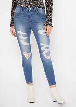 Medium Wash Distressed Leg High Waisted Curvy Jeans