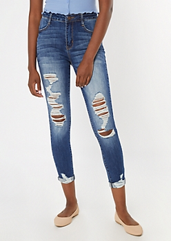 Medium Wash Distressed Rolled Hem High Waisted Jeans