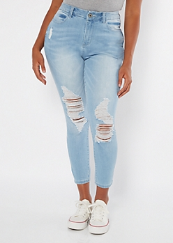 Ultimate Stretch Light Wash Ripped Curvy Ankle Jeggings