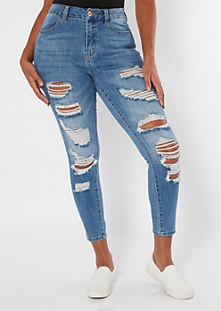 Medium Wash Distressed High Waisted Curvy Jeggings