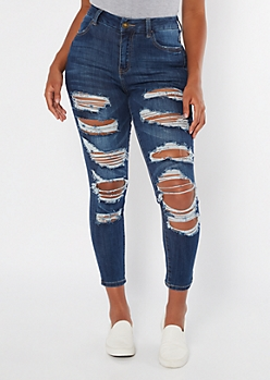 Dark Wash Distressed High Waisted Curvy Jeggings