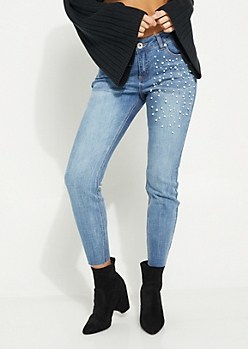 Pearly High Waisted Cropped Jeans