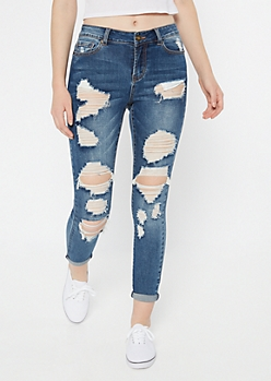 Ultimate Stretch Medium Wash Distressed Jeggings