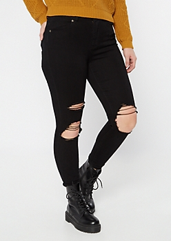 Ultimate Stretch Black Distressed Curvy Jeggings