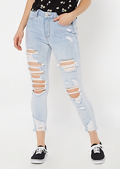 Light Wash High Waisted Distressed Curvy Jeggings