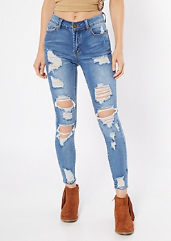 Ultimate Stretch Medium Wash High Waisted Distressed Ankle Jeggings