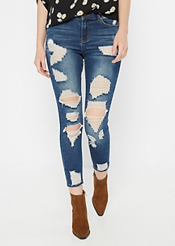Ultimate Stretch Dark Wash High Waisted Distressed Ankle Jeggings