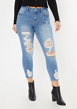 Ultimate Stretch Medium Wash Ripped Curvy Ankle Jeans