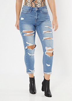 Medium Wash Ripped Curvy Mom Jeans