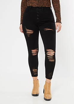 Ultimate Stretch Black Ripped Curvy Ankle Jeggings
