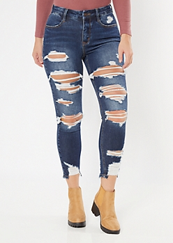 Ultimate Stretch Dark Wash Ripped Curvy Ankle Jeggings