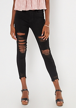Ultimate Stretch Black Extra Ripped Curvy Ankle Jeans