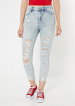 Ultimate Stretch Acid Wash Ripped Curvy Jeggings
