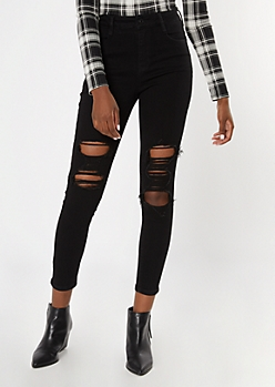 Black Ripped Blown Knee High Waisted Jeans