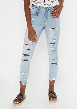 Medium Wash Ripped Ankle Curvy Jeggings