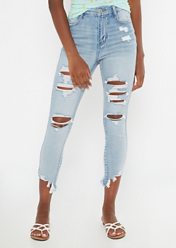 Light Wash Extra High Waisted Ripped Ankle Jeggings