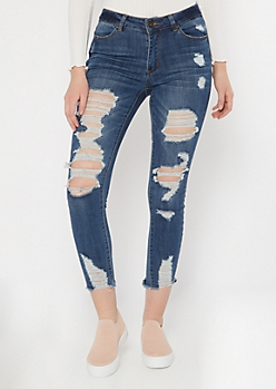 Ultimate Stretch Dark Wash Ripped Ankle Jeggings