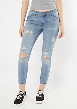 Ultimate Stretch Medium Wash Ripped Ankle Jeggings