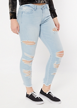 Ultimate Stretch Light Wash Raw Cut Jeggings