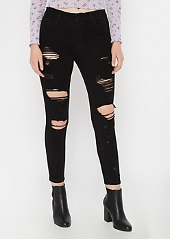 Ultimate Stretch Black Distressed Ankle Jeggings