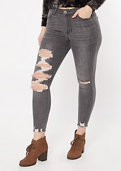 Ultimate Stretch Gray Raw Cut Ankle Jeggings