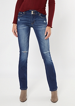 Dark Wash Mid Rise Double Button Bootcut Jeans