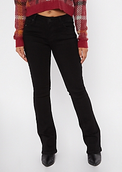 Black Mid Rise Bootcut Jeans
