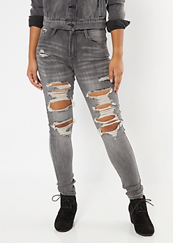 Ultimate Stretch Gray Ripped Jeggings