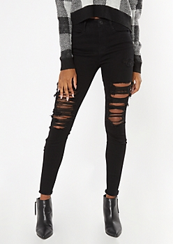 Ultimate Stretch Black High Waisted Ripped Jeggings