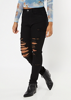 Ultimate Stretch Black Ripped Curvy Jeggings