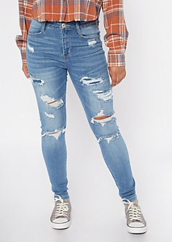 Medium Wash Destructed Ripped Jeans