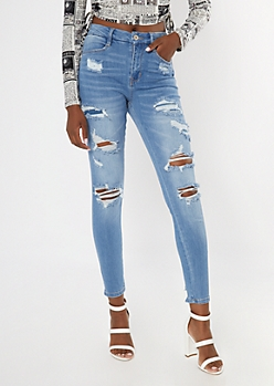 Light Wash Curvy Rip Repair Destructed Hem Skinny Jeans