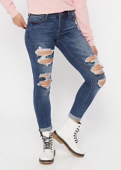Ultimate Stretch Medium Wash Ripped Rolled Cuff Jeggings