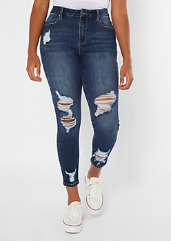 Ultimate Stretch Dark Wash Curvy Distressed Ankle Jeggings