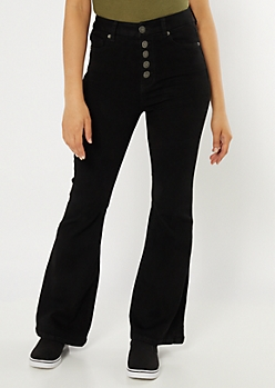 Black Exposed Button Flare Curvy Jeans