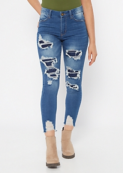 Medium Wash Ripped Repaired Curvy Jeans