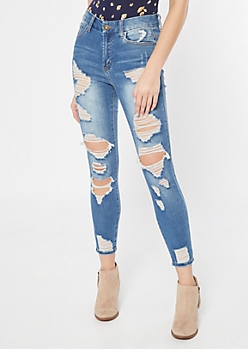 Medium Wash High Waisted Ripped Curvy Ankle Jeggings