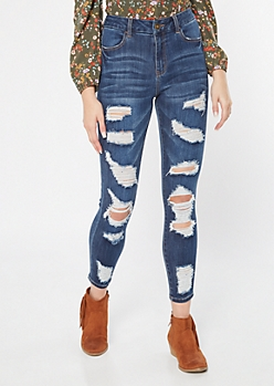 Dark Wash High Waisted Ripped Curvy Ankle Jeggings