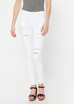 White Cutout Distressed High Waisted Jeggings