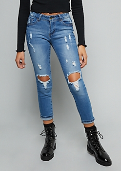 Medium Wash Ripped Knee Cropped Skinny Jeans