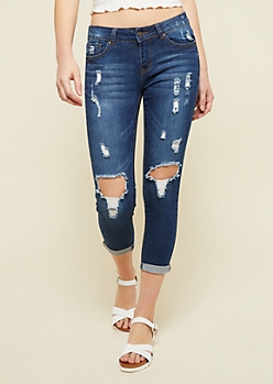 Dark Wash Low Rise Ripped Knees Skinny Ankle Jeans