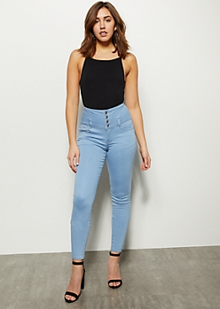 Light Wash Five Button High Waisted Skinny Jeans
