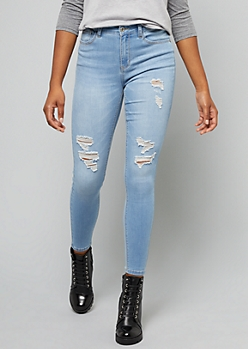 Light Wash Distressed Skinny Booty Jeans